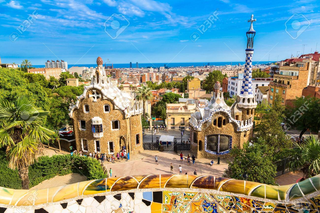 Park Guell By Architect Gaudi In A Summer Day In Barcelona Spain