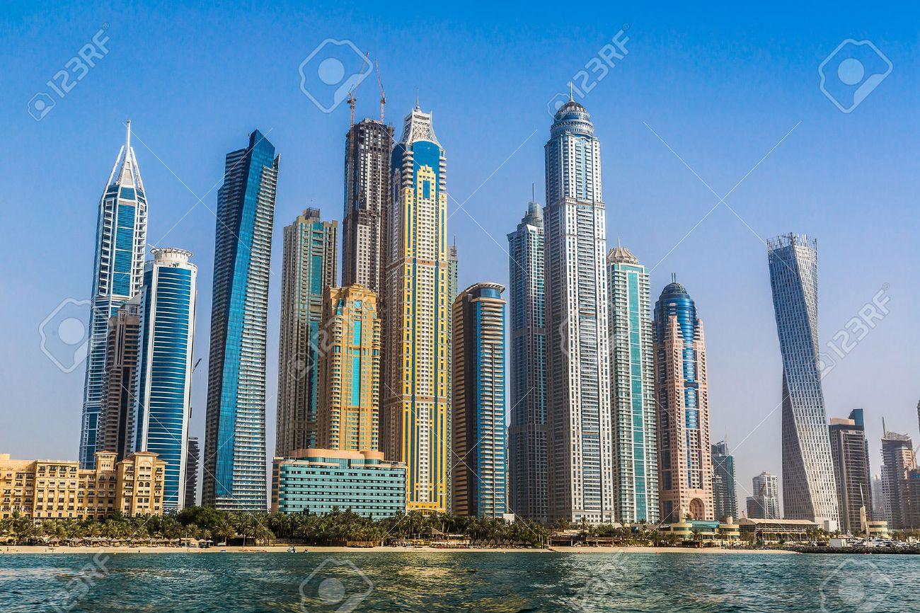 modern buildings in dubai marina dubai uae in a summer day stock