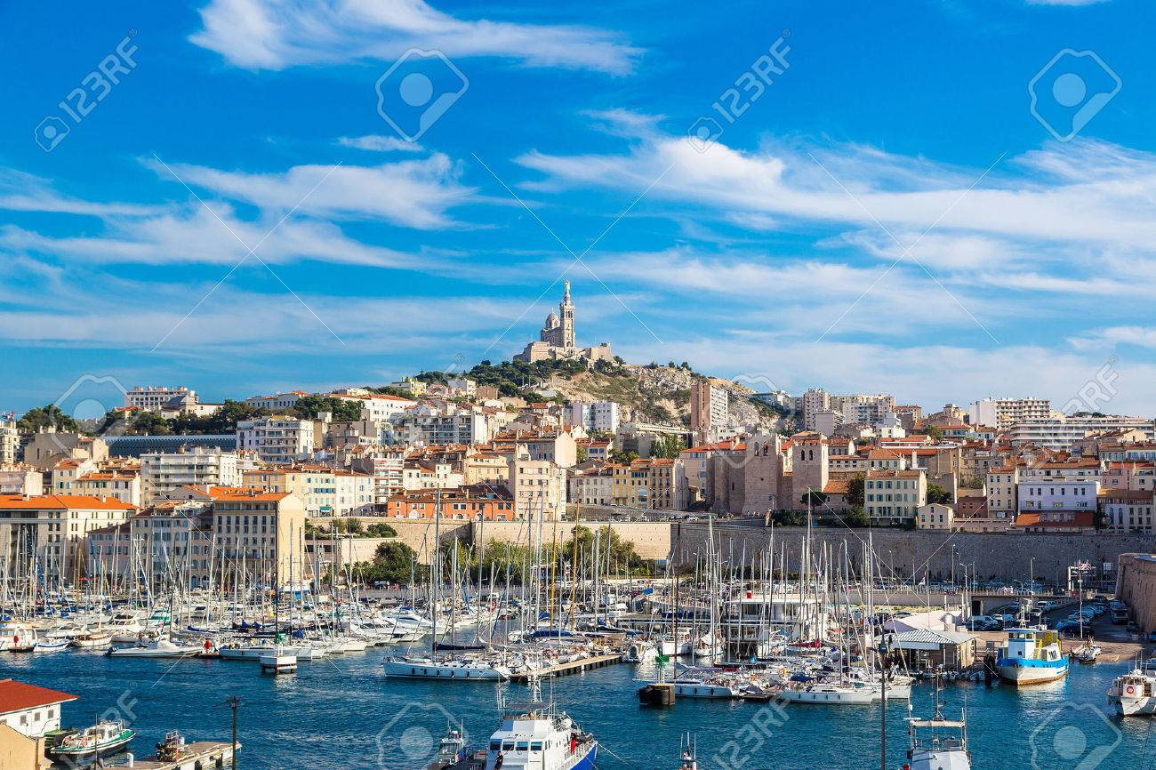 Aerial panoramic view on basilica of Notre Dame de la Garde and old port in Marseille, France - 47507275