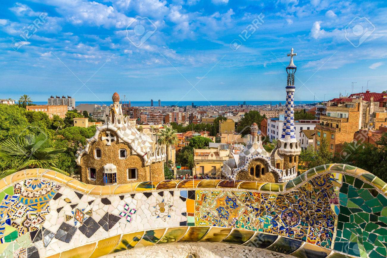 Park Guell By Architect Gaudi In A Summer Day Barcelona Spain Banque D
