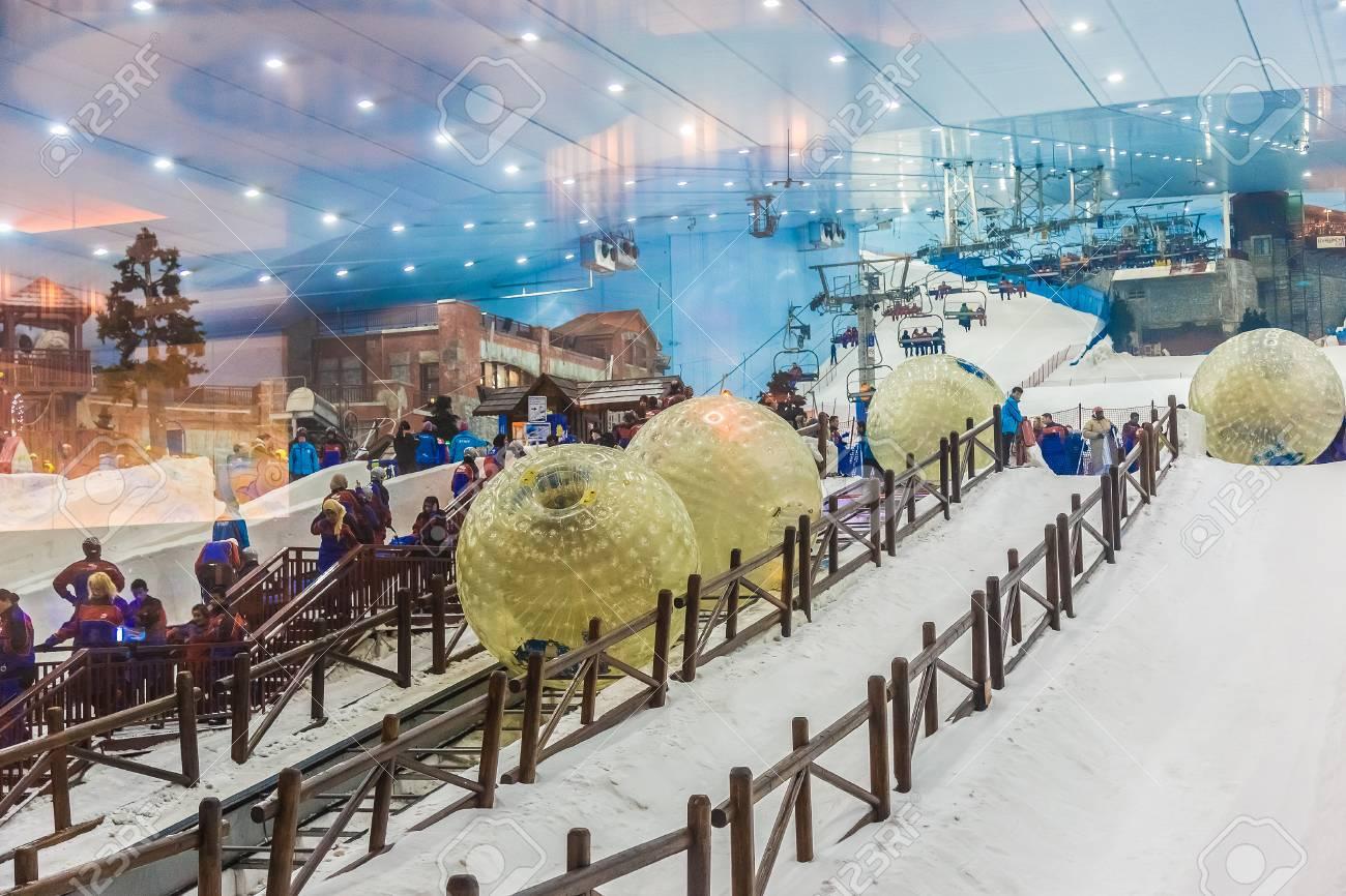 dubai, uae - april 16: ski dubai, an indoor ski resort in mall