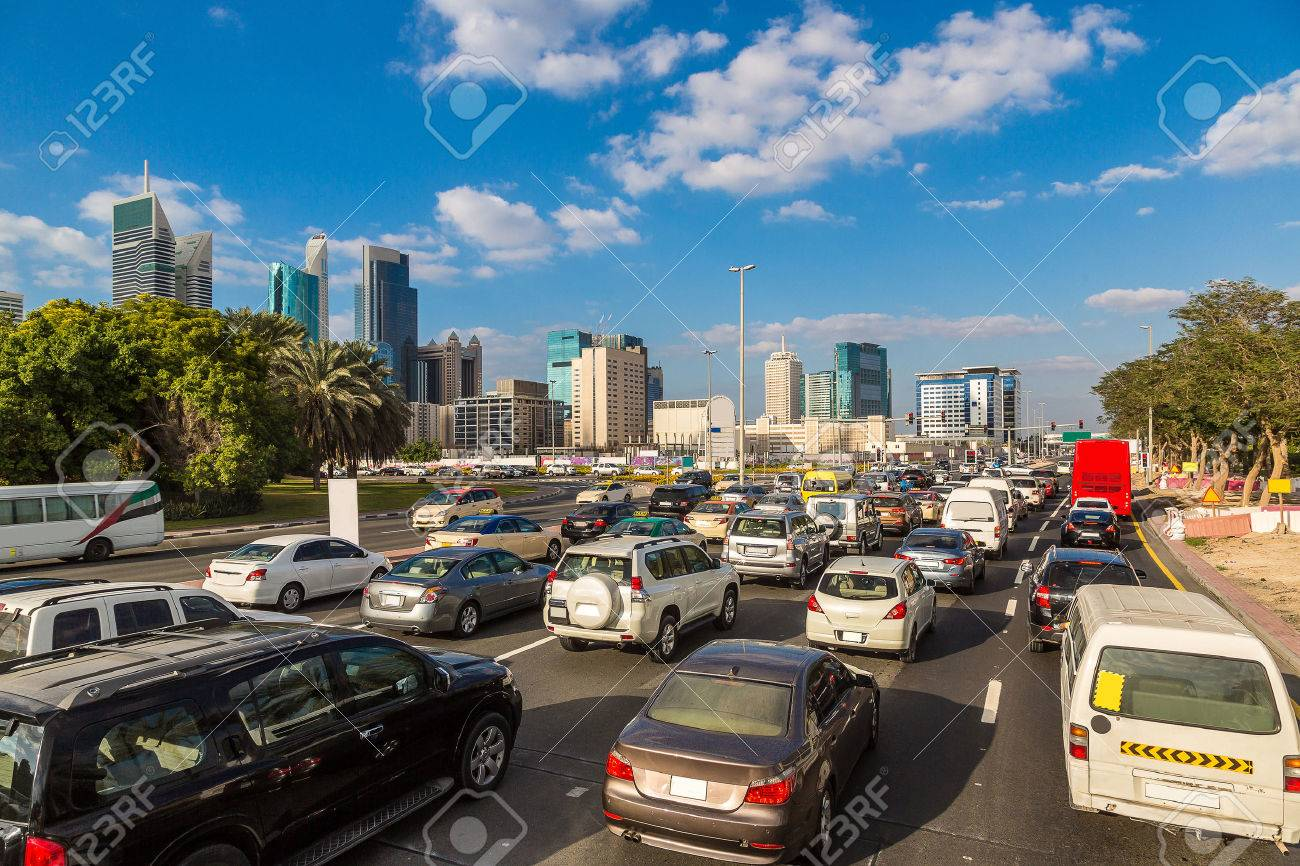 Traffic jam at Sheikh Zayed Road in Dubai in a summer day - 53016049