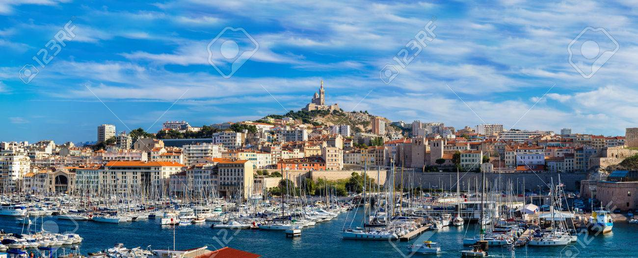 Aerial panoramic view on basilica of Notre Dame de la Garde and old port in Marseille, France - 81030115