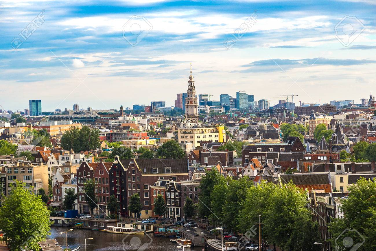 Panoramic aerial view of Amsterdam in a beautiful summer day, The Netherlands - 70750634