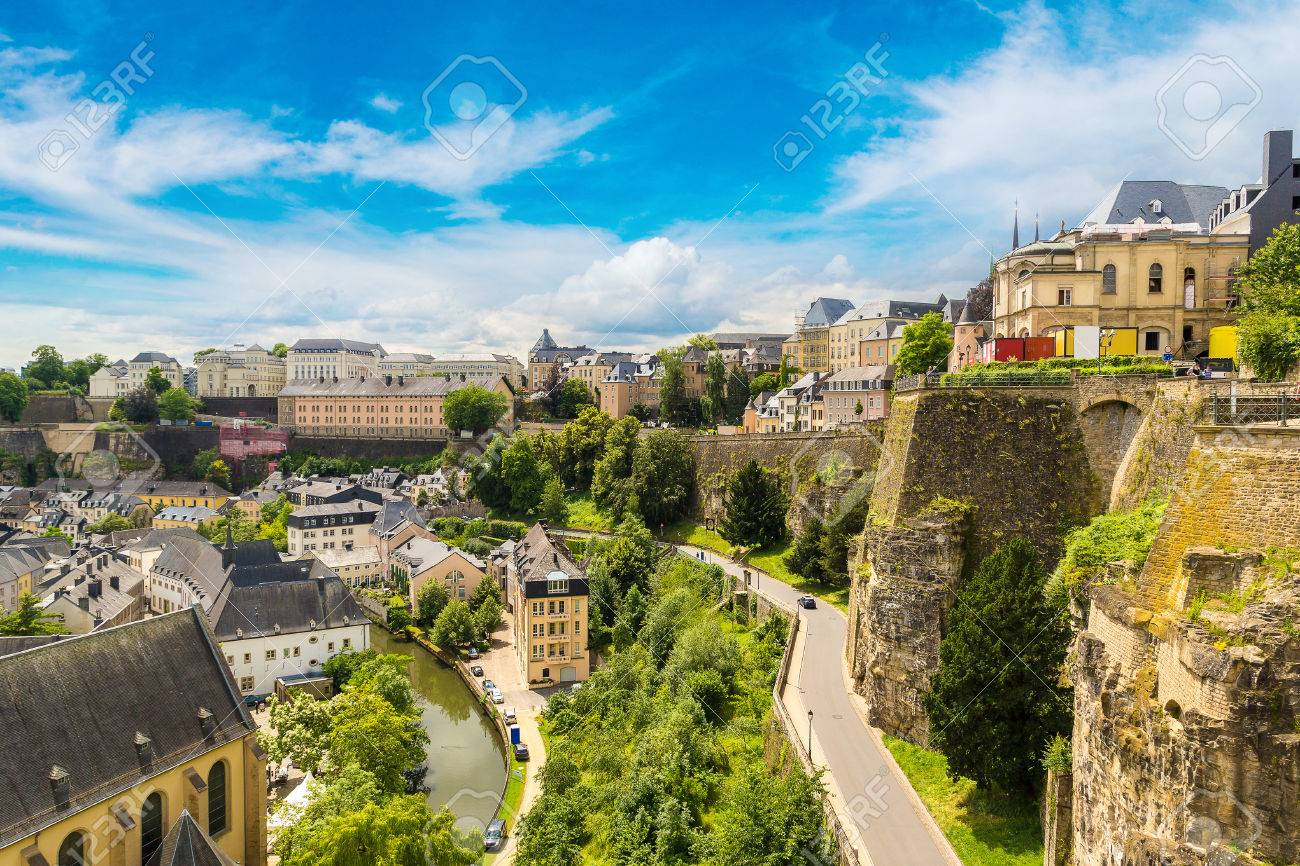 Panoramic aerial view of Luxembourg in a beautiful summer day, Luxembourg - 78326939