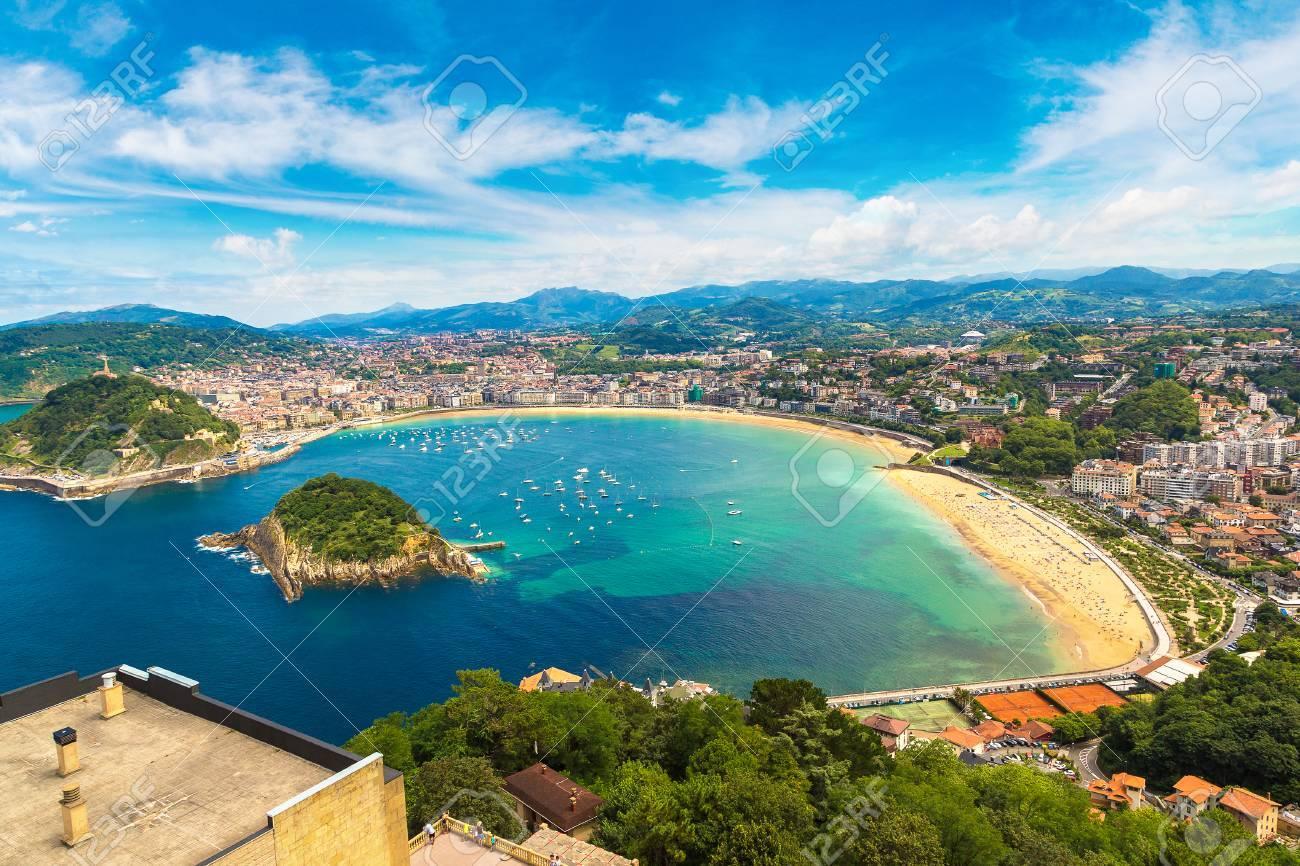 Panoramic aerial view of San Sebastian (Donostia) in a beautiful summer day, Spain - 70645254