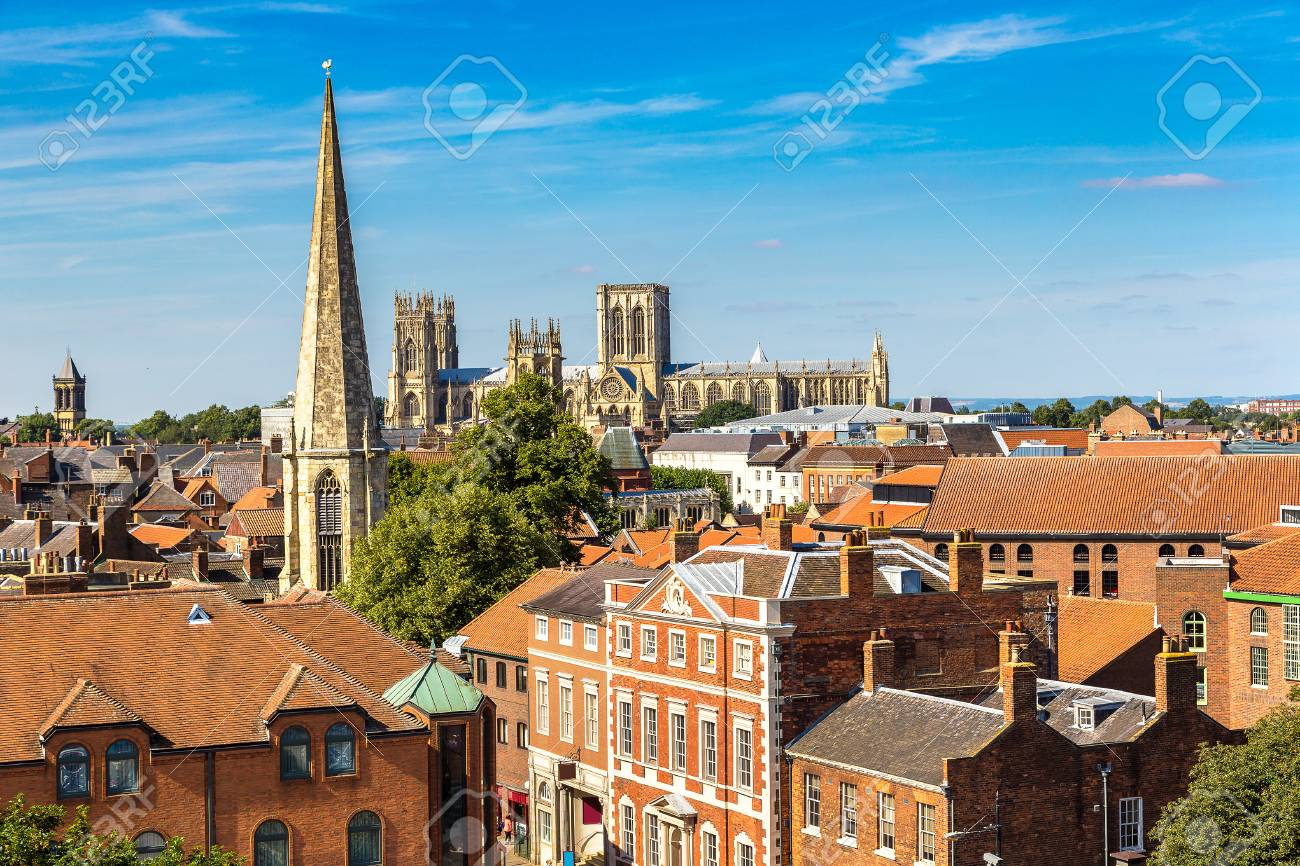 Panoramic aerial view of York in North Yorkshire in a beautiful summer day, England, United Kingdom - 70733570