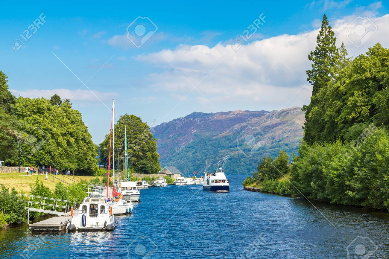 Fort Augustus and Loch Ness lake in Scotland in a beautiful summer day, United Kingdom - 70733577