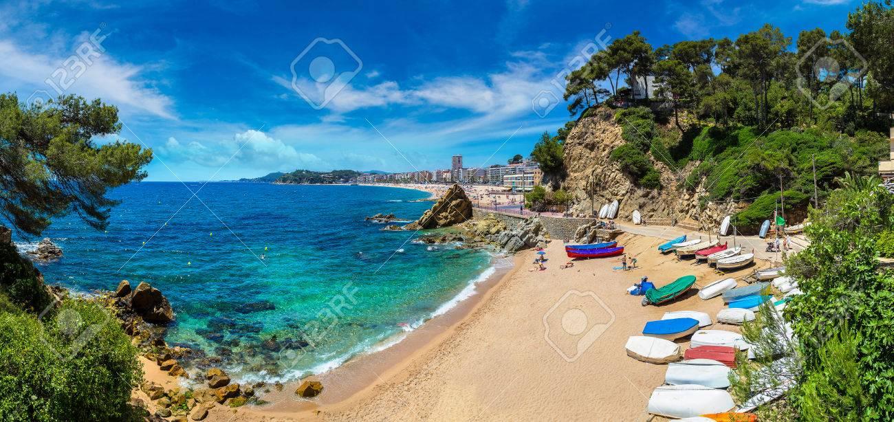 Beaches in Lloret de Mar in a beautiful summer day, Costa Brava, Catalonia, Spain - 74723837