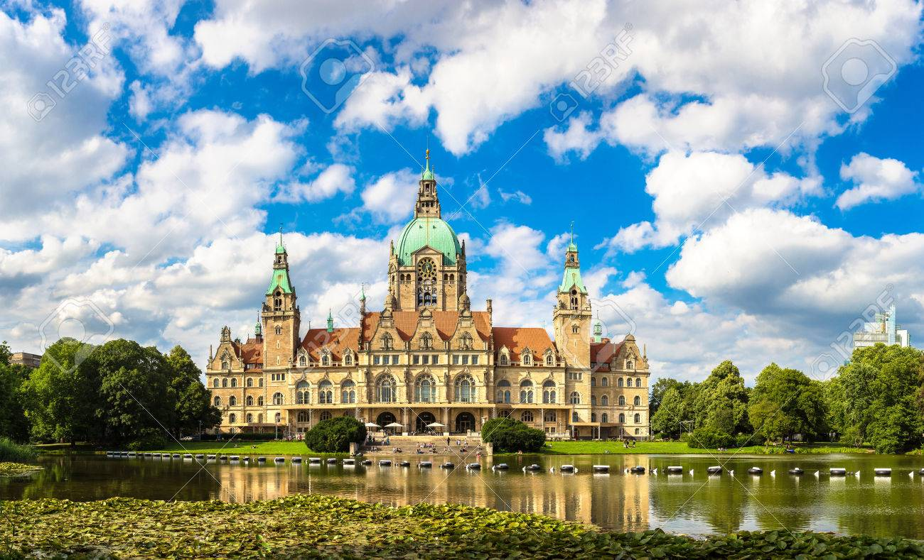Panorama of New City Hall in Hannover in a beautiful summer day, Germany - 74730914