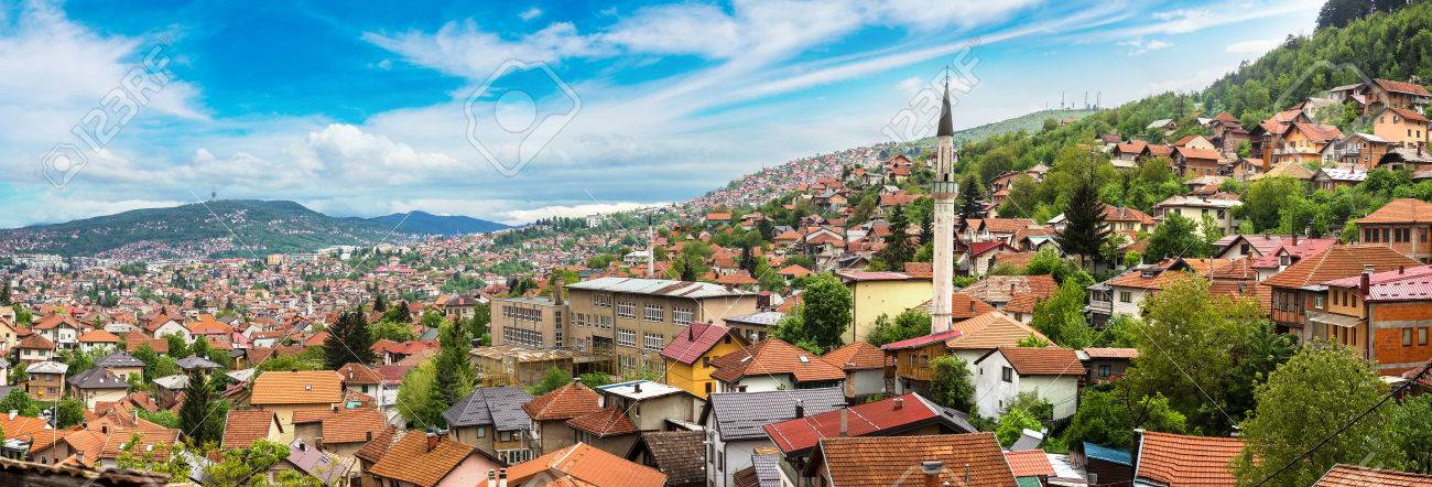 Panoramic aerial view of Sarajevo in a beautiful summer day, Bosnia and Herzegovina - 74731038