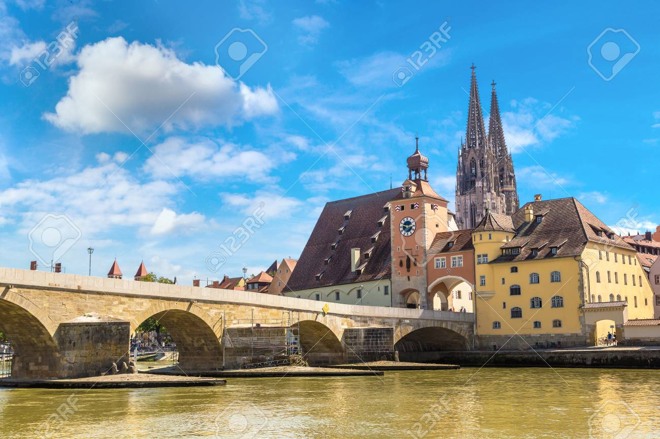 Regensburg and Cathedral, Germany in a beautiful summer day - 84895214