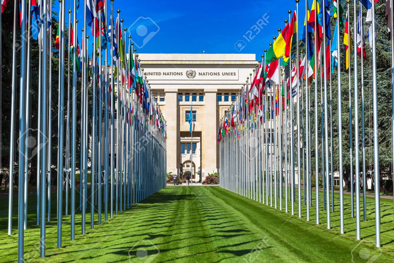 GENEVA, SWITZERLAND - JULY 25, 2017: United Nations entrance and building in Geneva in a beautiful summer day, Switzerland - 86407568