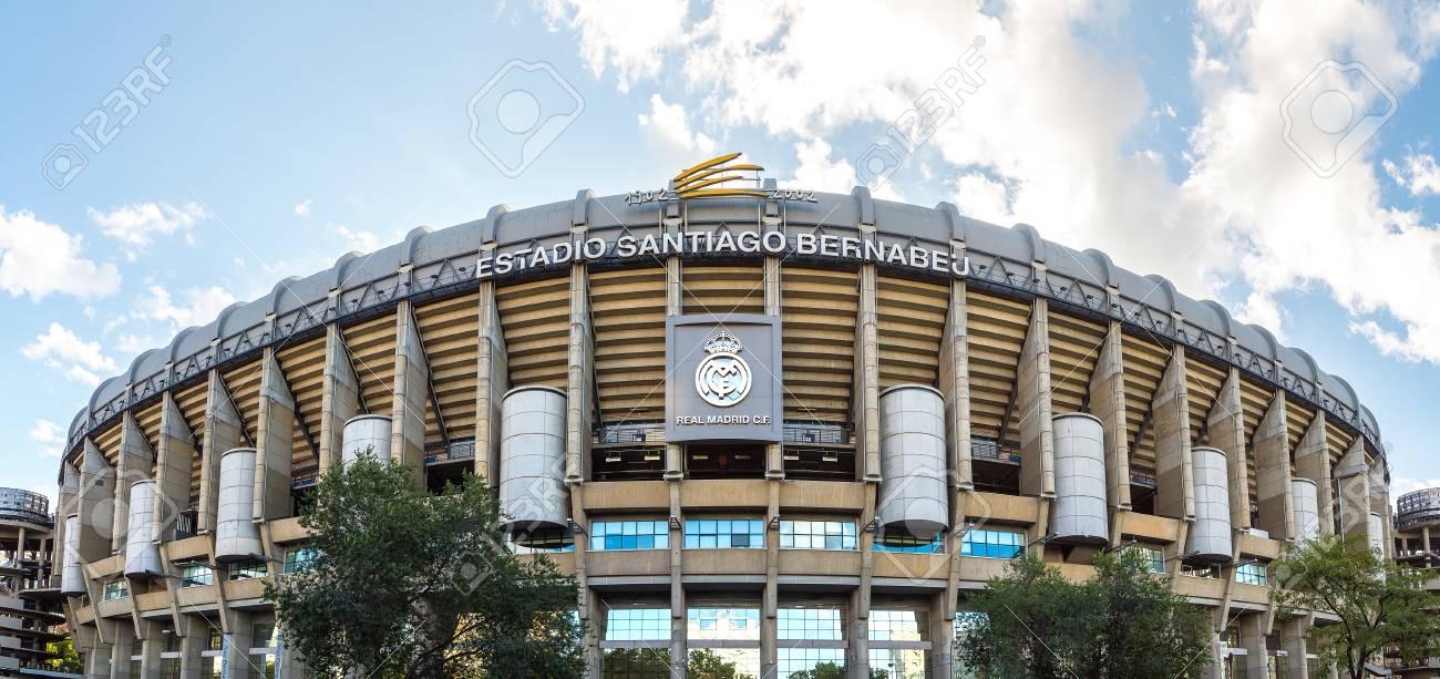 MADRID, SPAIN - JULY 25, 2017: Santiago Bernabeu Stadium of Real Madrid in Madrid, Spain in a beautiful summer day - 87195037