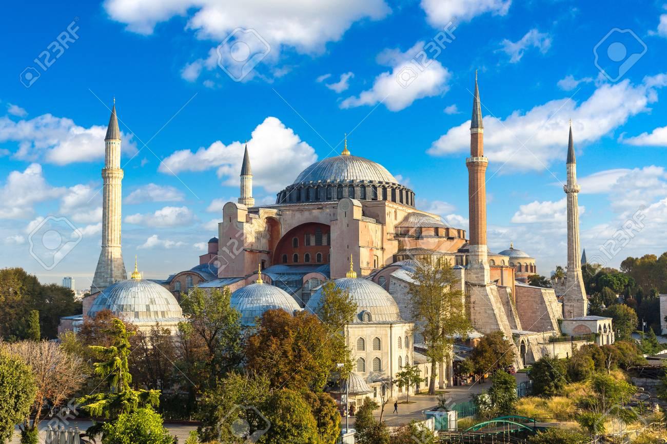 Panoramic Aerial View Of Hagia Sophia In Istanbul Turkey In Stock