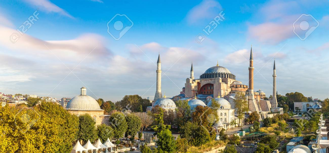 Panoramic aerial view of Hagia Sophia in Istanbul, Turkey in a beautiful summer day - 90097864