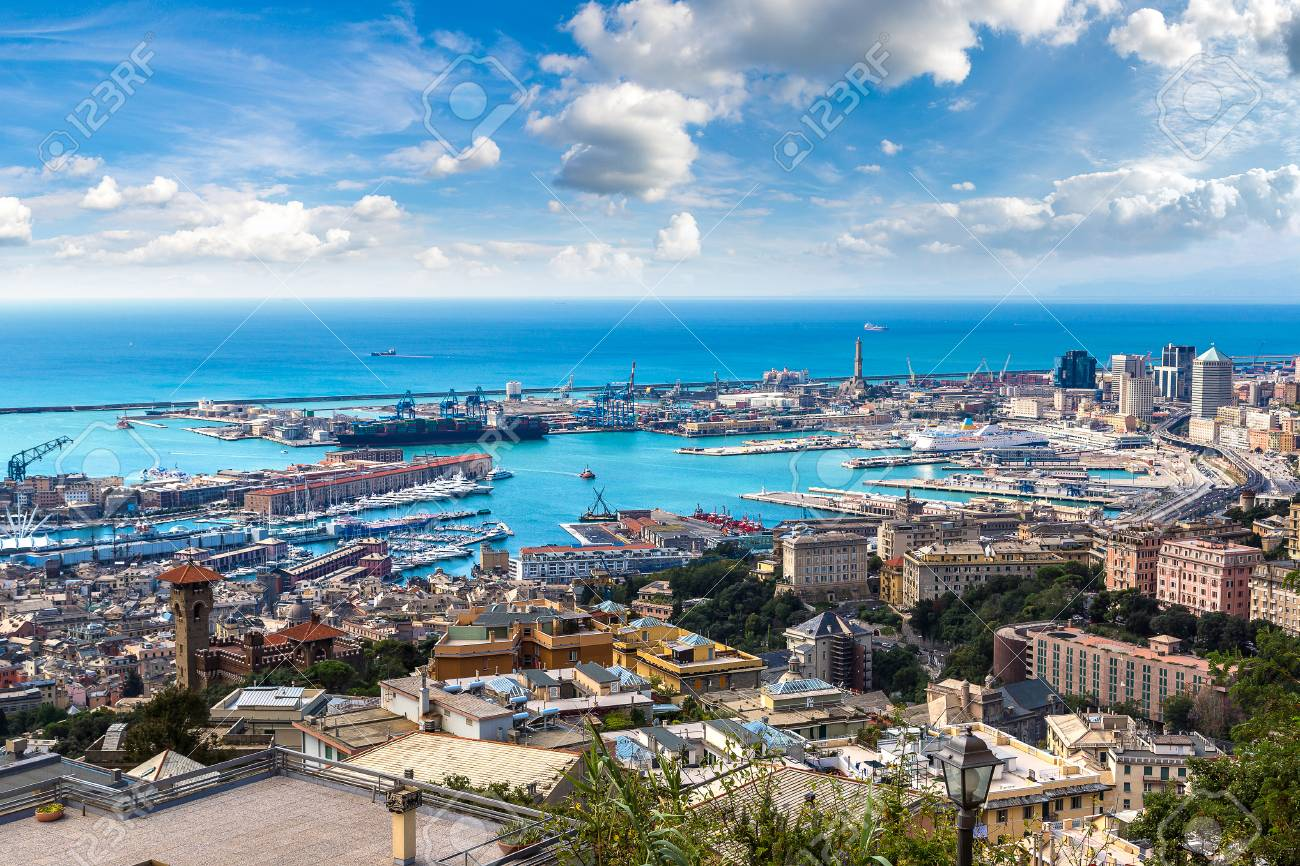 Panoramic view port of Genoa in a summer day, Italy - 89980072