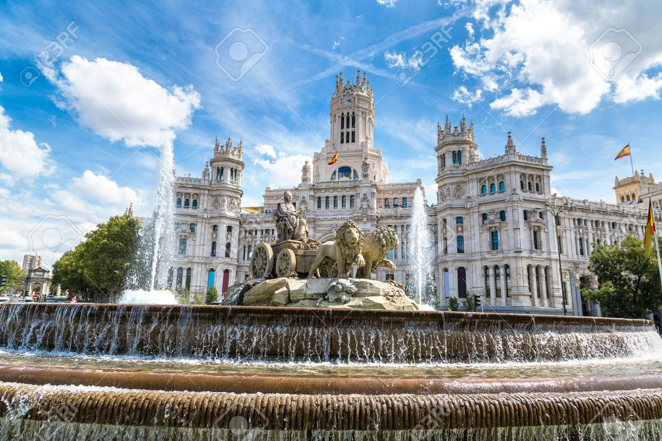 Cibeles fountain at Plaza de Cibeles in Madrid in a beautiful summer day, Spain - 89987201