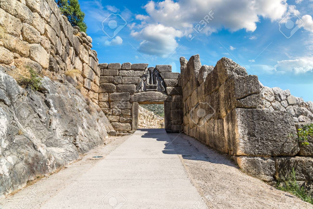 Lion Gate in Mycenae, Greece in a summer day - 89980945