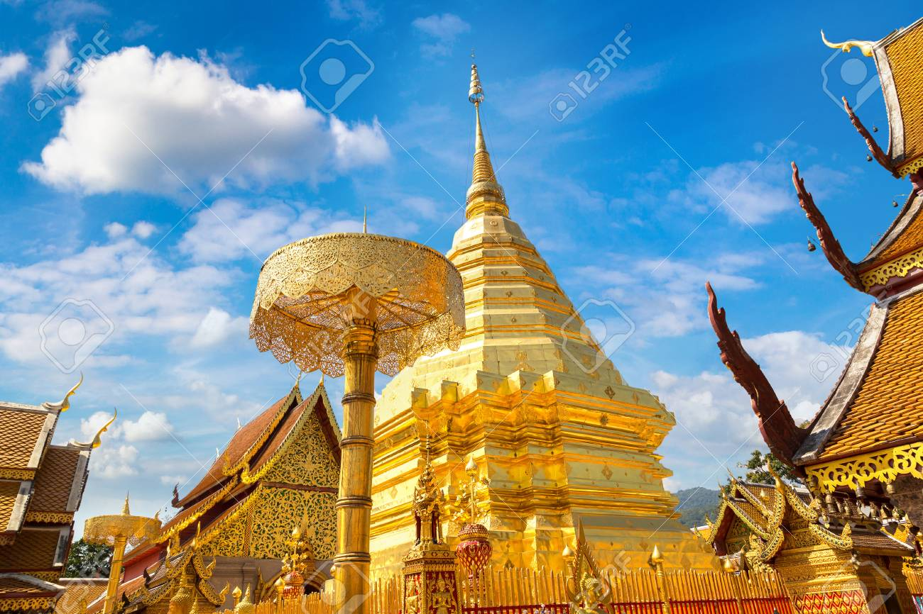 Golden pagoda Wat Phra That Doi Suthep in Chiang Mai, Thailand in a summer day - 114055300