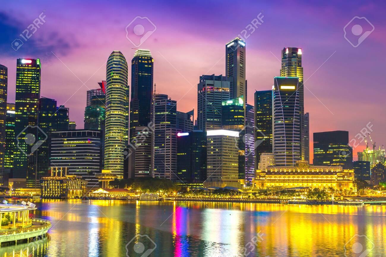 Singapore city skyline at beautiful summer night - 123056672