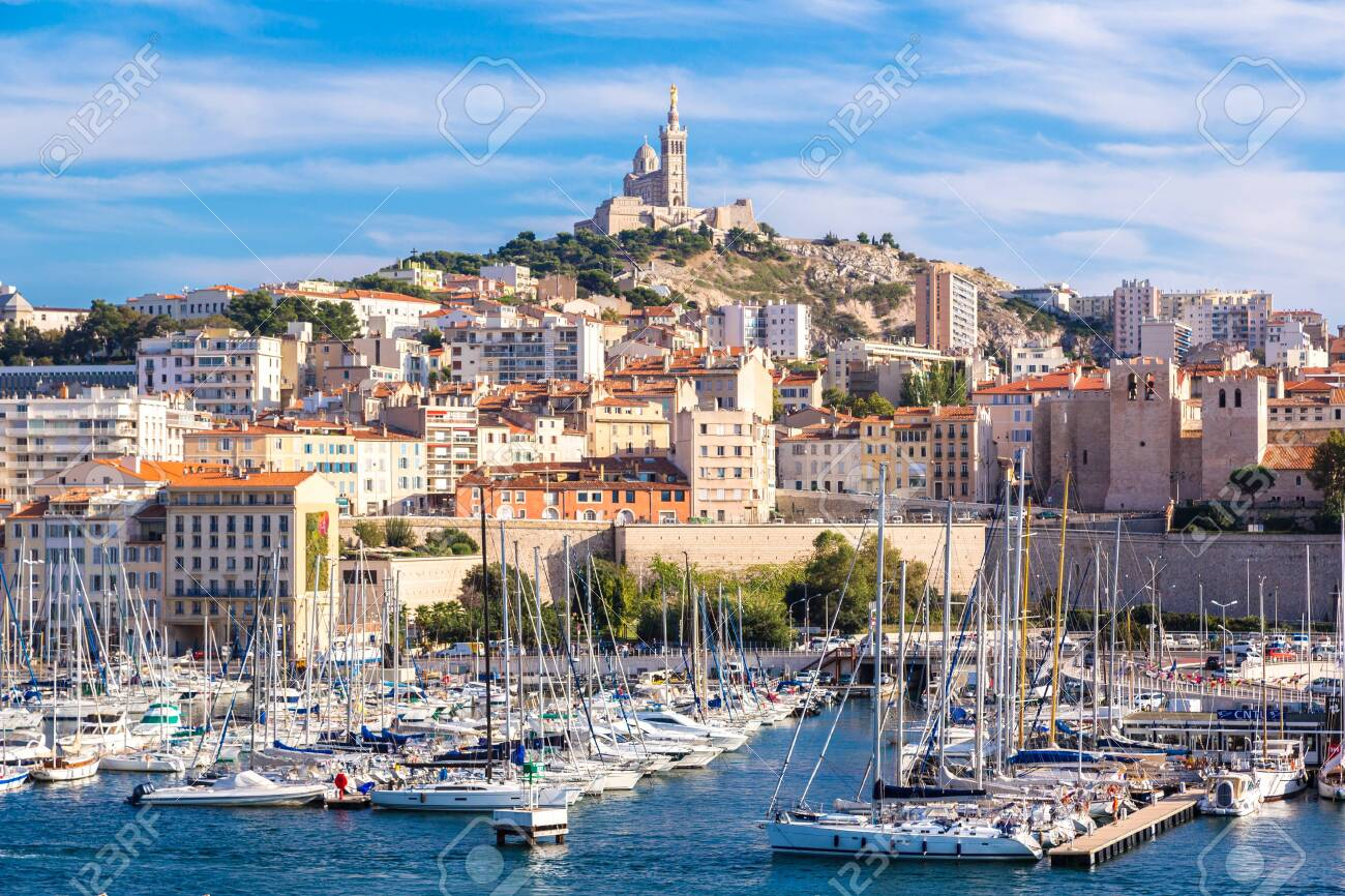 MARSEILLE, FRANCE - JULY 12, 2014: Aerial panoramic view on basilica of Notre Dame de la Garde and old port in Marseille, France - 146814270