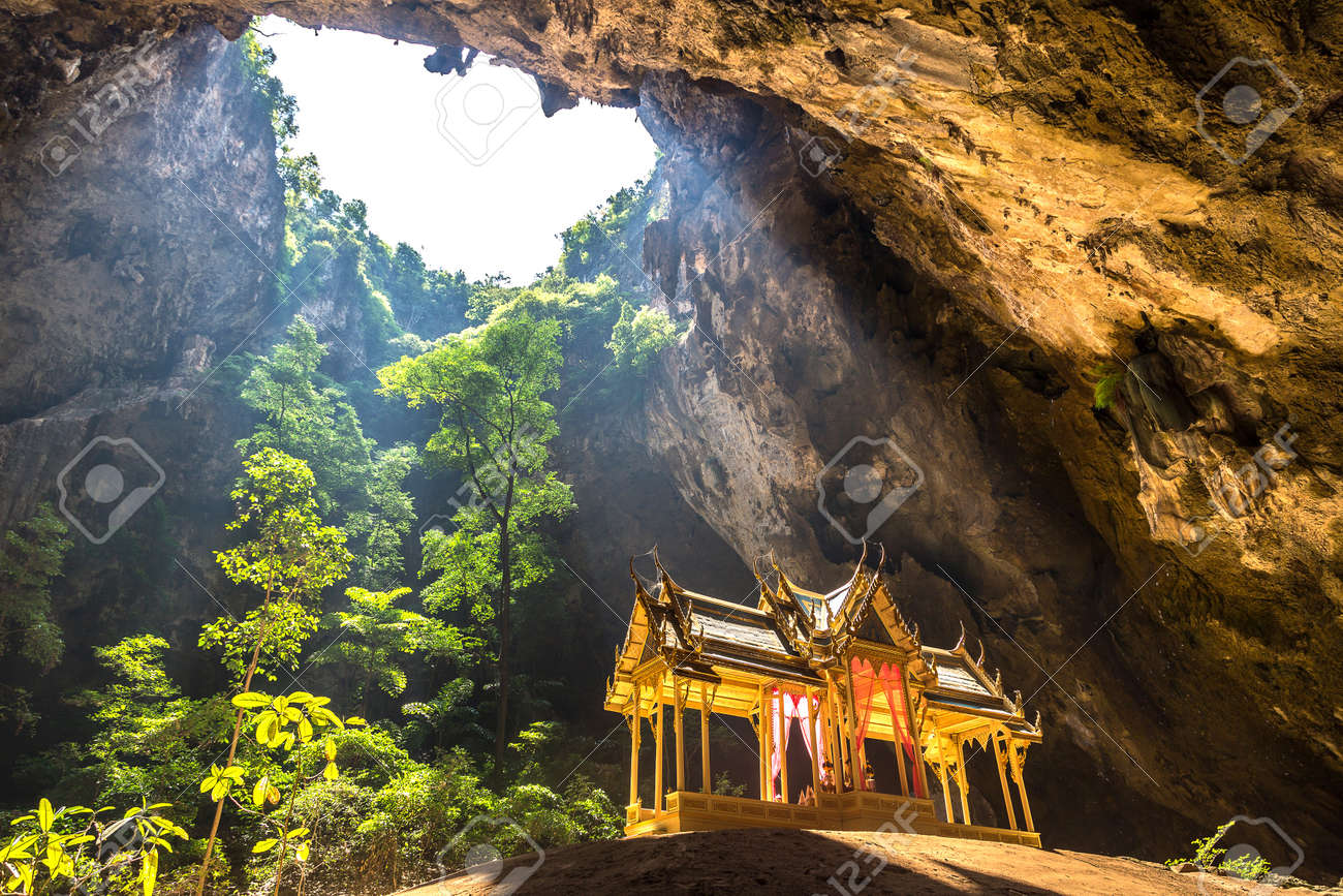 Royal pavilion in Phraya Nakorn cave, National Park Khao Sam Roi Yot, Thailand in a summer day - 155183857