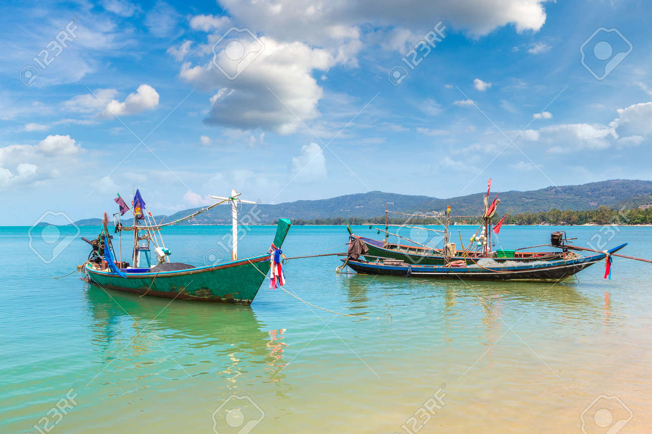 Fishing Boats on Koh Samui island, Thailand in a summer day - 154939008