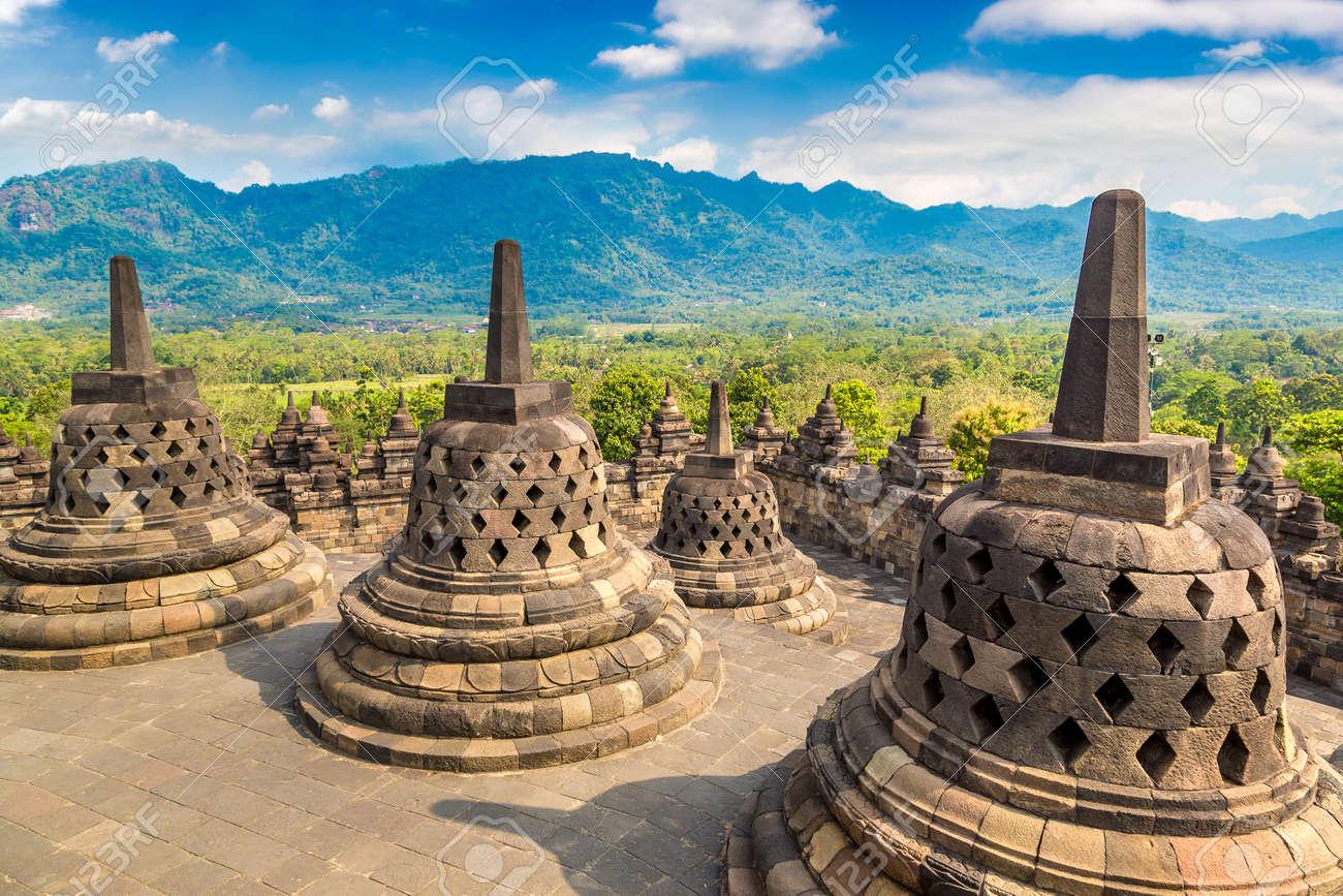 Buddist temple Borobudur near Yogyakarta city, Central Java, Indonesia - 173329166