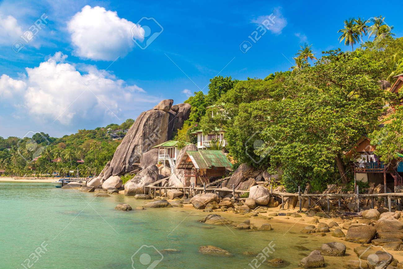 Taa Toh tropical beach at Koh Tao island, Thailand - 173329210