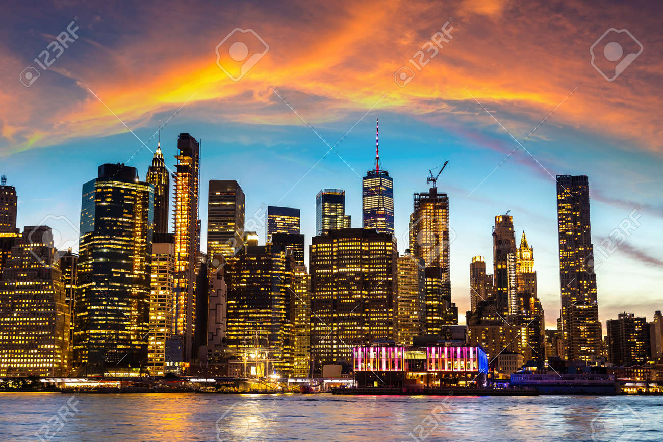 Panoramic Night view of downtown Manhattan after sunset in New York City, USA - 173438516
