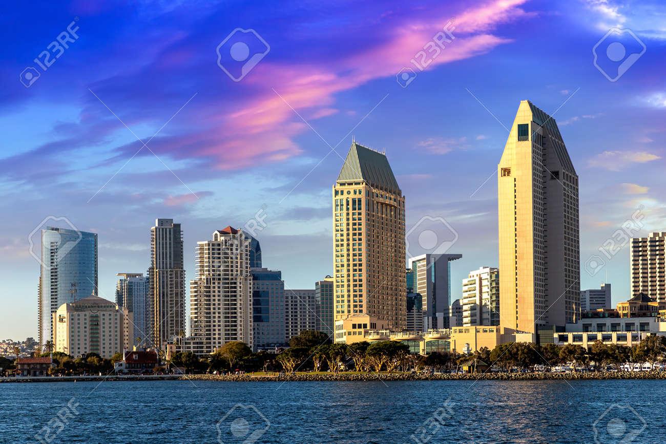 San Diego Bay in marina district, California, USA - 173438774