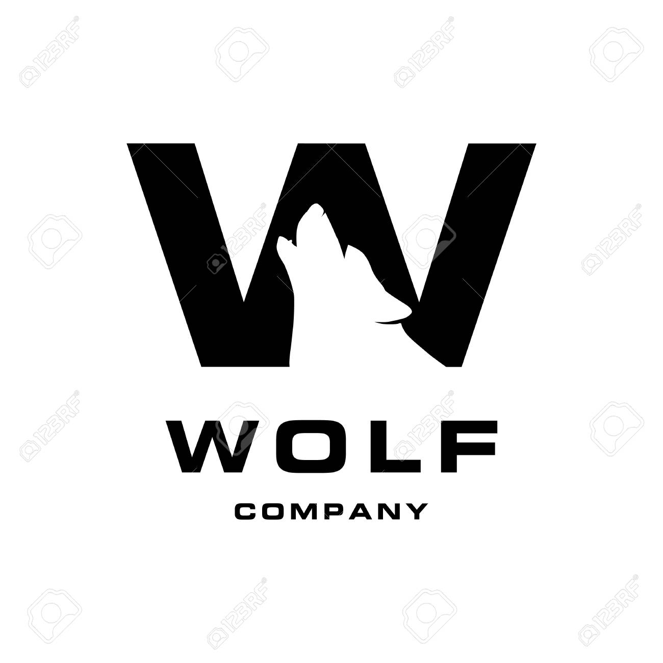 Letter W And Wolf Negative Space Royalty Free Cliparts Vectors