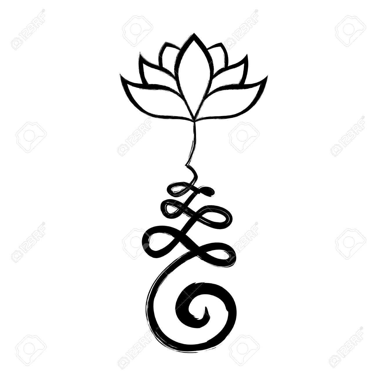 Buddhist Symbol For Life Path With Lotus Flower Unalome Royalty