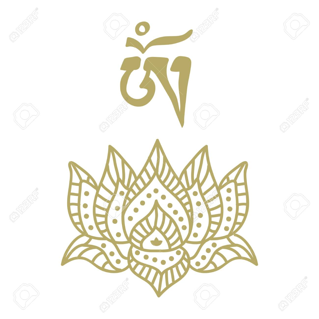 Stylized Gold Lotus Flower With Om Symbol Royalty Free Cliparts