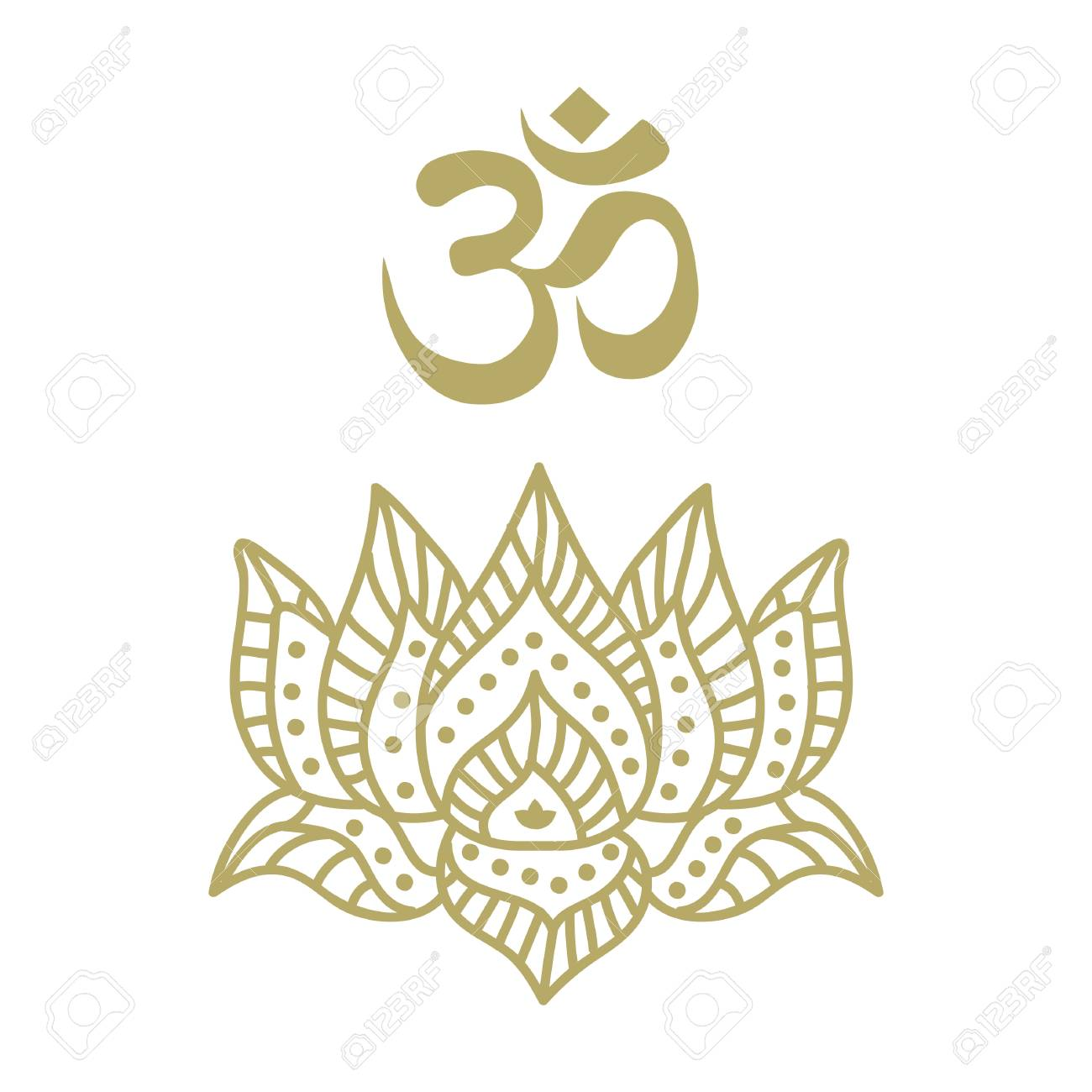 Stylized Lotus Flower With Om Symbol Royalty Free Cliparts Vectors