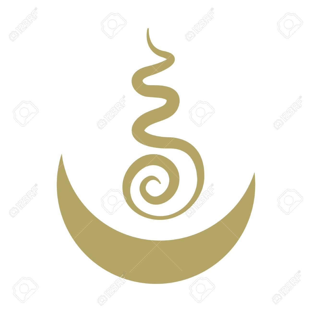 Stylized ornamental Tibetan vector symbol for universe, moon and sun - 135680656