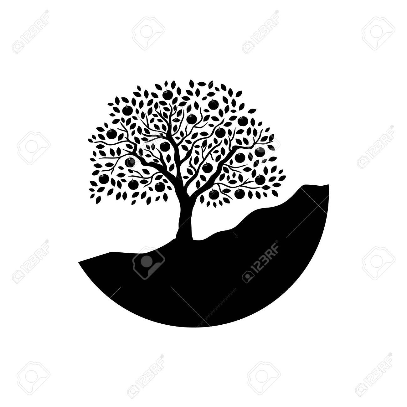 Apple Tree Logo Icon Royalty Free Cliparts Vectors And Stock Illustration Image 136277725