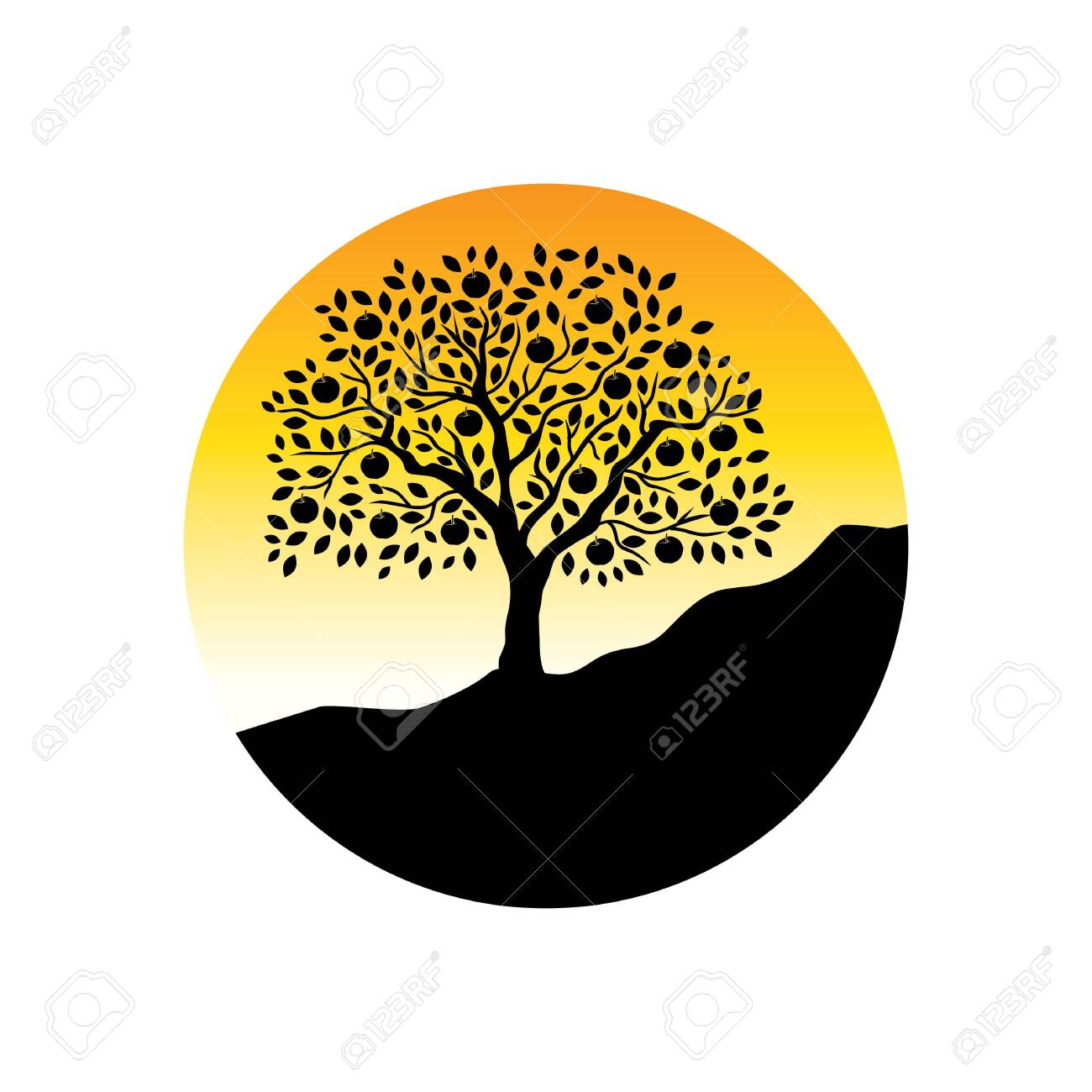 Apple Tree Logo Icon Royalty Free Cliparts Vectors And Stock Illustration Image 136277760