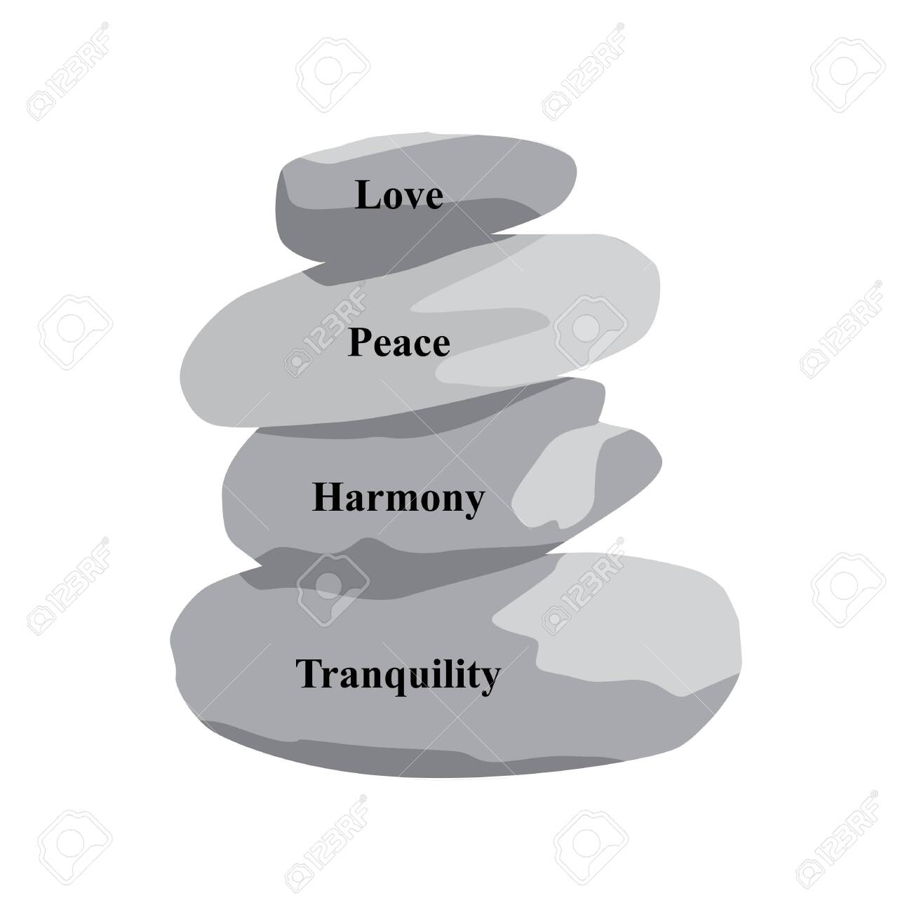 Words Love Peace Harmony Tranquility And Zen Stones Vector