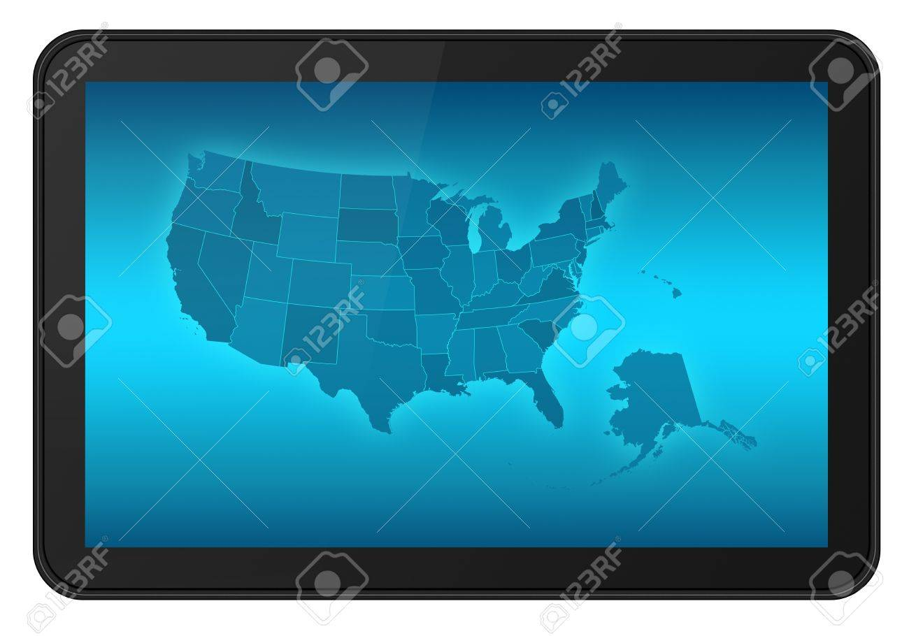 LCD Touch Screen Tablet With USA States Map Also Alaska And - Hawaii map usa states