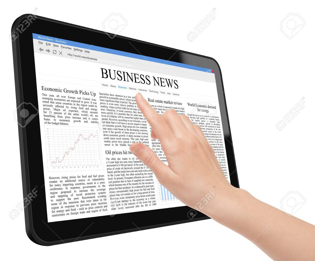 Hand touch screen on tablet pc with business news Stock Photo - 9422069