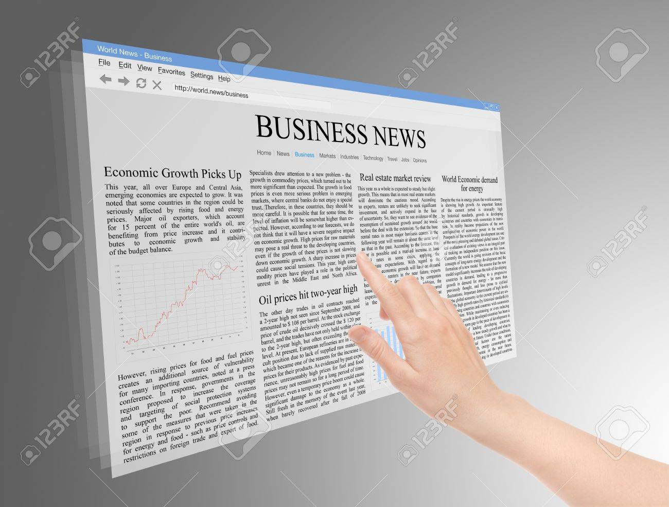 Future screen concept with business news on web page. Stock Photo - 9565918