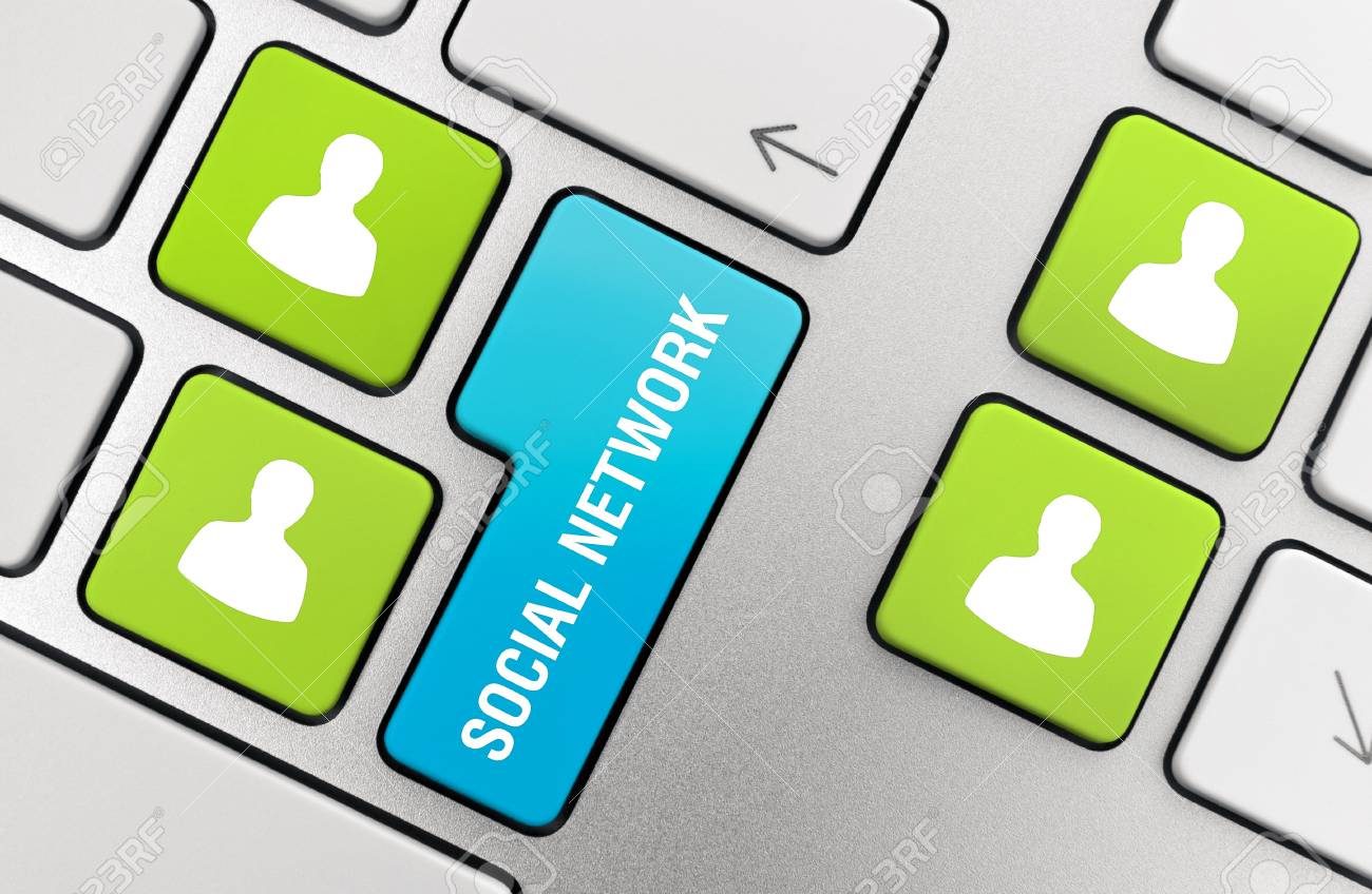 Social network concept on modern aluminium keyboard. Stock Photo - 9767348