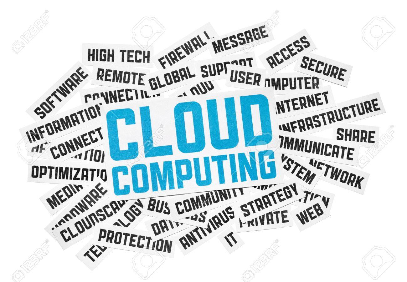 Cut pieces of paper with text on cloud computing theme. Isolated on white. Stock Photo - 10118873