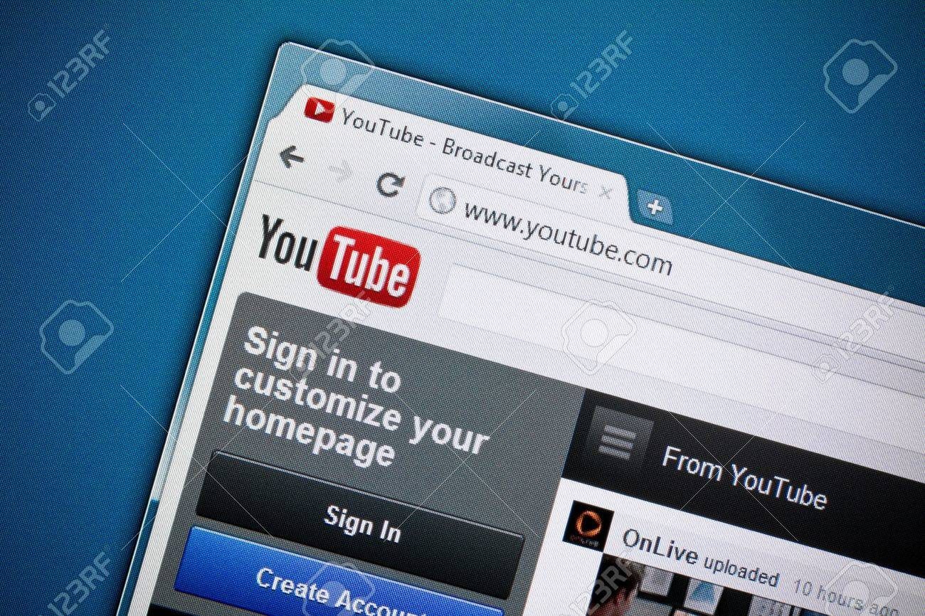 Kiev, Ukraine - December 8, 2011: Google inc. has officially released brand new design of YouTube homepage in December 1, 2011. YouTube is a largest and most visited video-sharing website, has founded in February 14, 2005. Stock Photo - 11502122