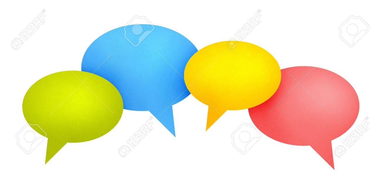 Concept image on communication theme with bright colored speech bubbles. Isolated on white. Stock Photo - 11840005