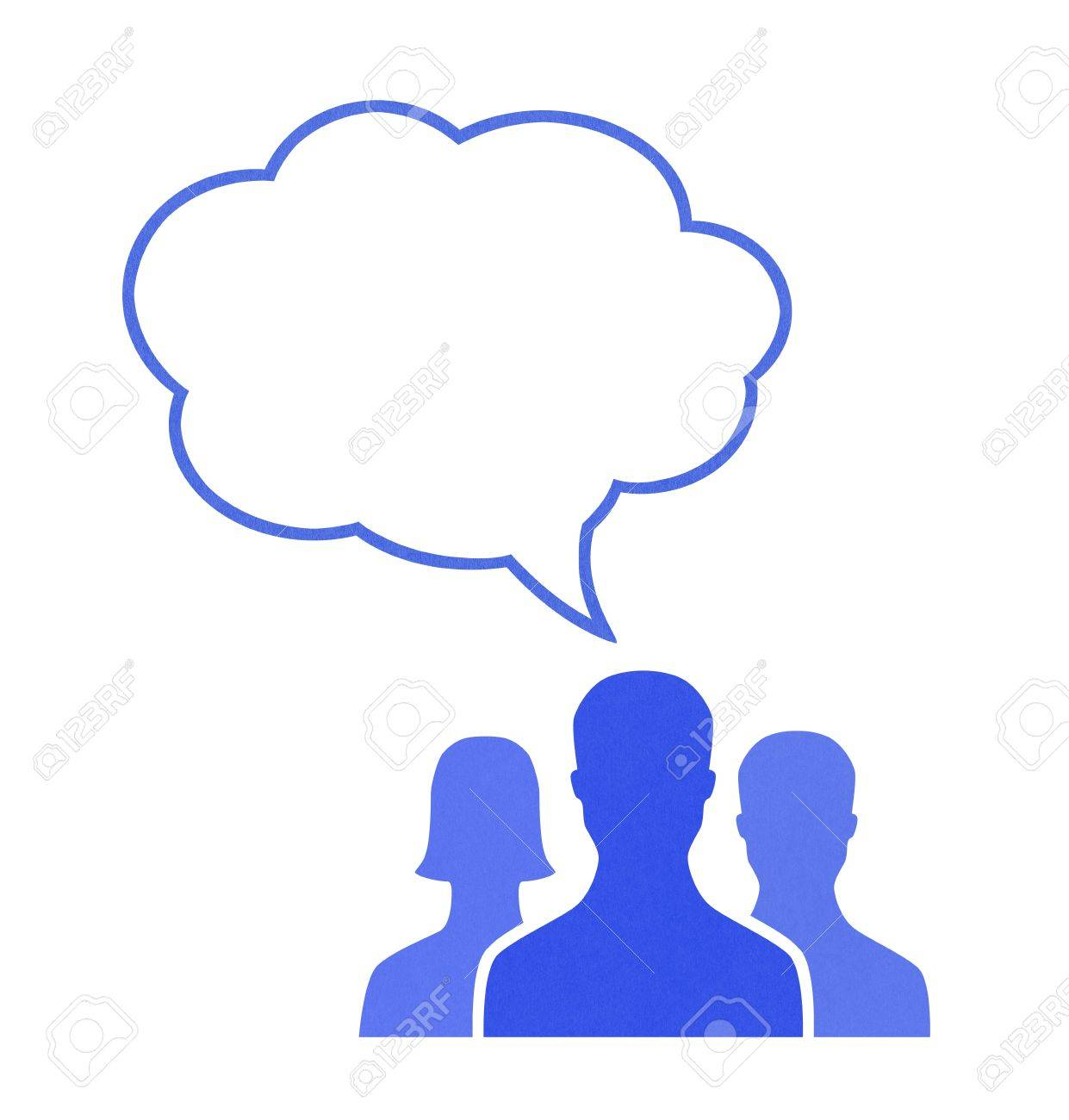 Paper human figures talk using speech bubble. Concept image on communication theme. Isolated on white. Stock Photo - 11840000