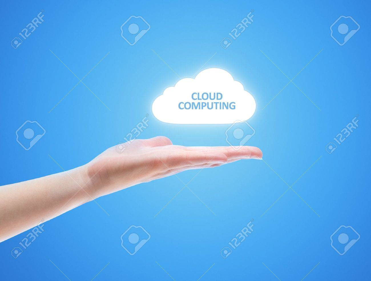 Woman hand share the cloud against blue background. Concept image on cloud computing theme with copy space. Stock Photo - 12068509