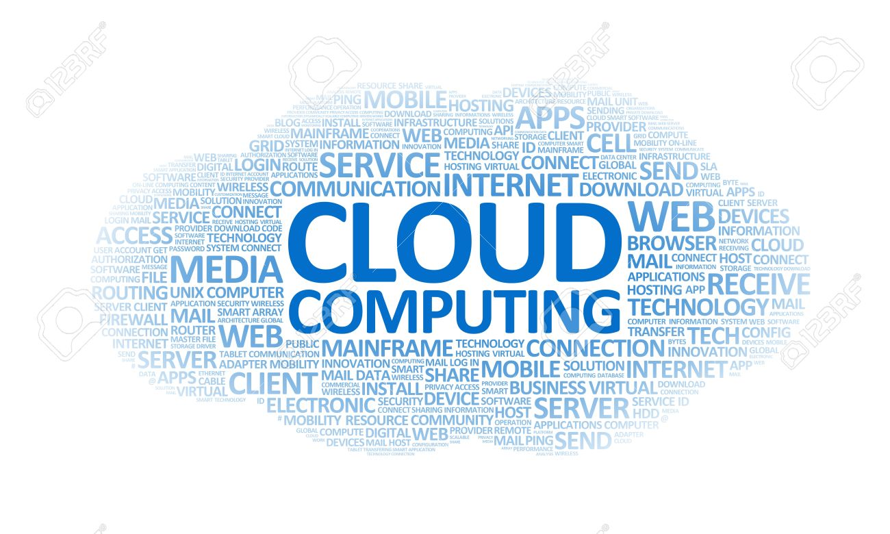 word cloud conceptual illustration on cloud computing theme stock